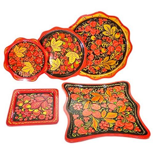 Деревянные тарелки хохлома