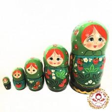 """Матрешка """"Зеленая клубничка"""" 5 кукольная"""