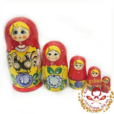 """""""Городец"""" матрешка из 5 кукол"""