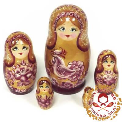 """Золотой петушок"" матрешка из 5 кукол"