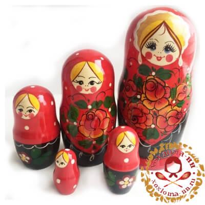 """Вятка красная"" матрешка из 5 кукол"