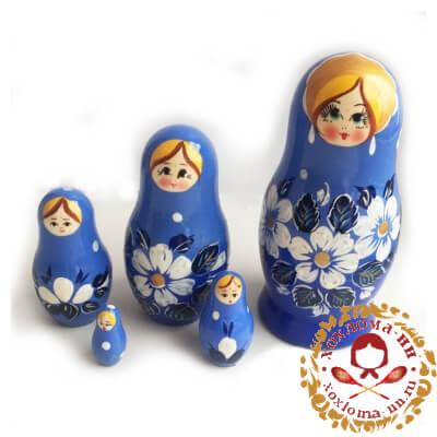 """""""Вятка синяя"""" матрешка из 5 кукол"""