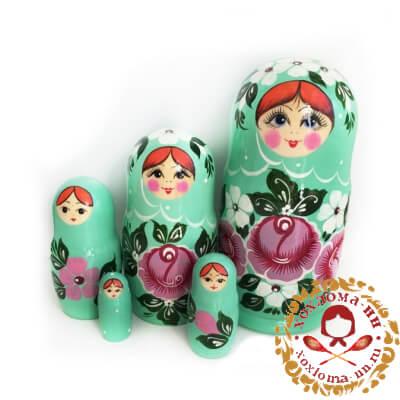 """""""Бирюзовая"""" матрешка из 5 кукол"""