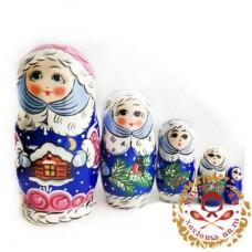 """Матрешка новогодняя """"Снегурочка"""" 5 кукольная"""