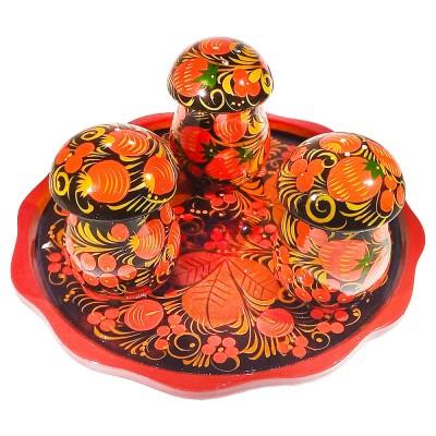 Набор грибов с хохломской росписью
