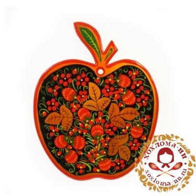 """Разделочная доска в форме яблока роспись """"Хохлома"""""""