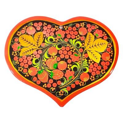 """Доска для теста в форме сердца с росписью """"хохлома"""""""