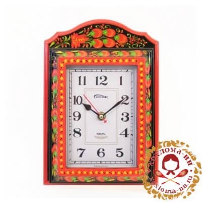Часы с хохломской росписью с отделом под ключи